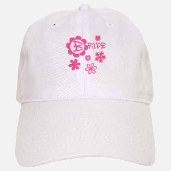 BRIDE with Pink Flowers Baseball Baseball Cap
