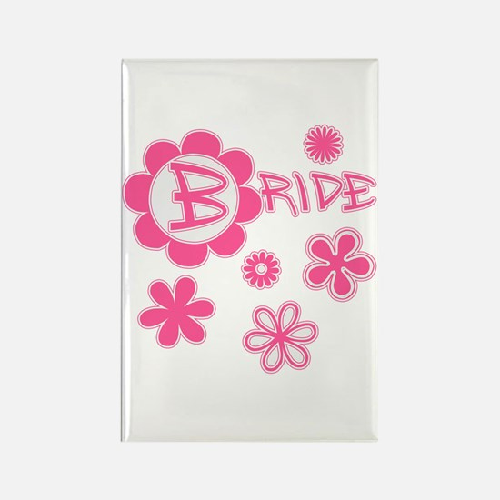 BRIDE with Pink Flowers Rectangle Magnet