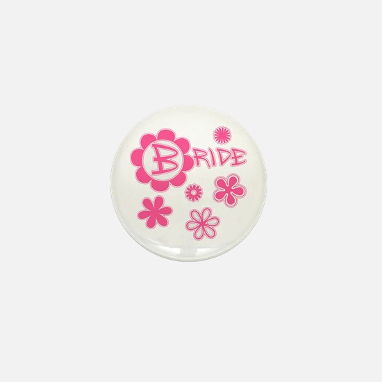 BRIDE with Pink Flowers Mini Button