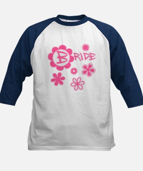 BRIDE with Pink Flowers Kids Baseball Jersey