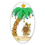 Desert Island Christmas Oval Sticker