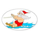 Waterski Santa Oval Sticker