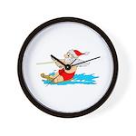 Waterski Santa Wall Clock