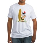 Surfing Santa Fitted T-Shirt