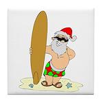 Surfing Santa Tile Coaster