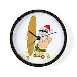 Surfing Santa Wall Clock
