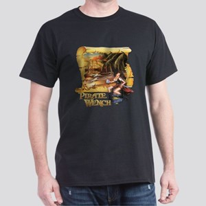 Pirate Wench Ship and Map Dark T-Shirt