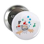 """Scuba Diving Santa 2.25"""" Button (100 pack)"""