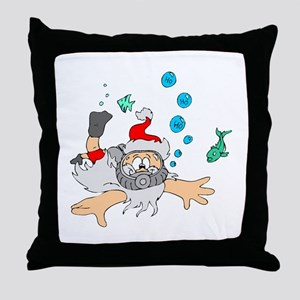 Scuba Diving Santa Throw Pillow
