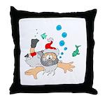 Scuba Diving Santa Throw Pillow