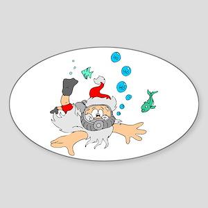 Scuba Diving Santa Oval Sticker
