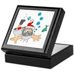 Scuba Diving Santa Keepsake Box