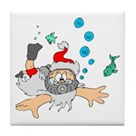 Scuba Diving Santa Tile Coaster