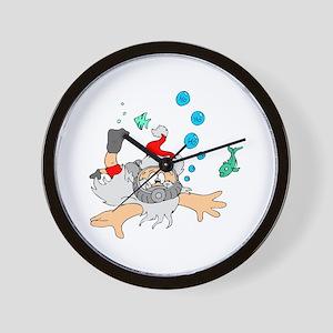 Scuba Diving Santa Wall Clock