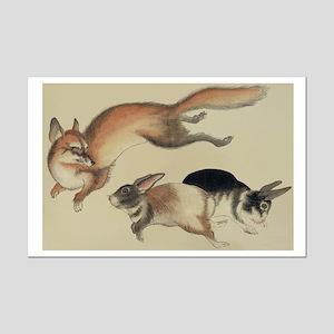 Japan Fox and Rabbit poster 11x17