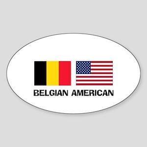 Belgian American Oval Sticker