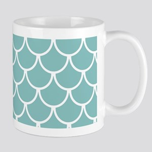 Chalky Blue Fish Scales Pattern 11 oz Ceramic Mug