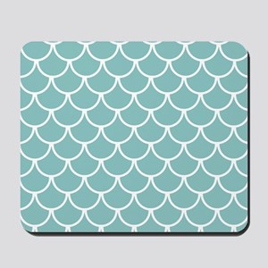 Chalky Blue Fish Scales Pattern Mousepad