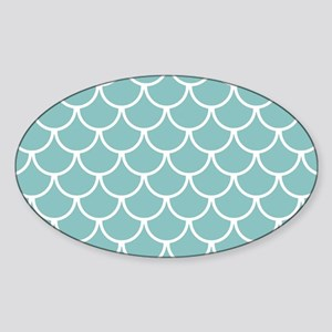Chalky Blue Fish Scales Pattern Sticker (Oval)