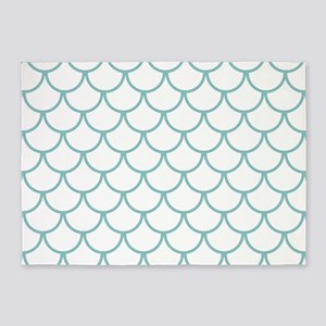 Chalky Blue Fish Scales Pattern 5'x7'Area Rug