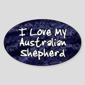 Funky Love Australian Shepherd Oval Sticker