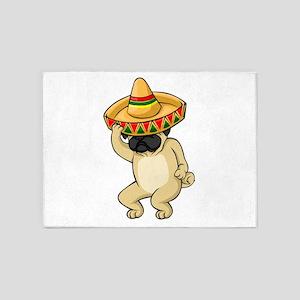 Funny Pug Dancing Sombrero - CInco 5'x7'Area Rug