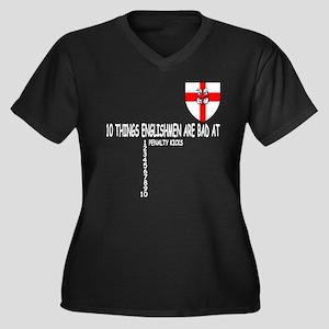 England flag Women's Plus Size V-Neck Dark T-Shirt