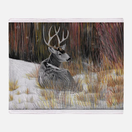 Winter Buck Throw Blanket