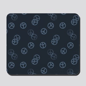 Gray Peace Sign Pattern Mousepad