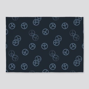 Gray Peace Sign Pattern 5'x7'Area Rug