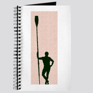 READY TO ROW DARK GREEN PINK PAINTED Journal