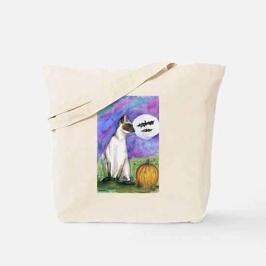 Halloween Siamese Kitty Cat Tote Bag