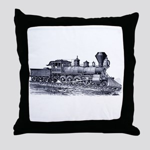 Locomotive (Blue) Throw Pillow