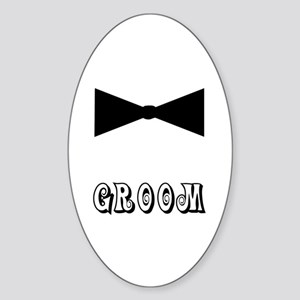 Black Tie GROOM Oval Sticker