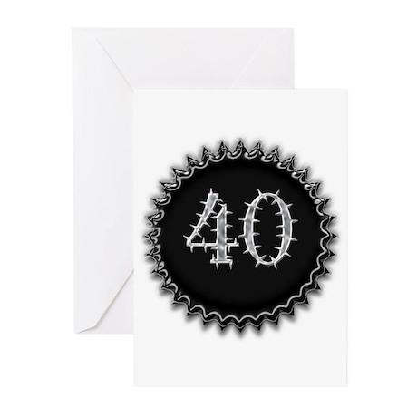 Black 40th Birthday Greeting Cards (Pk of 20)