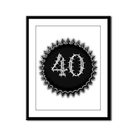 Black 40th Birthday Framed Panel Print