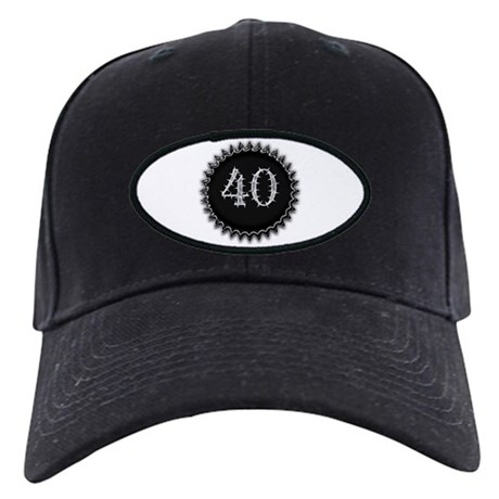 Black 40th Birthday Black Cap