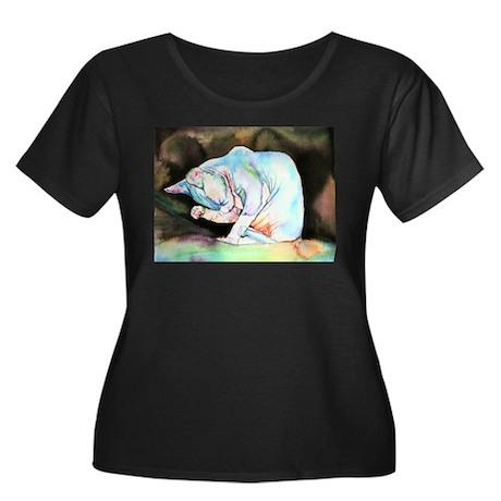Sphynx Women's Plus Size Scoop Neck Dark T-Shirt