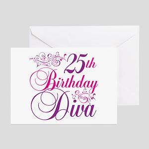 25th Birthday Diva Greeting Cards (Pk of 20)