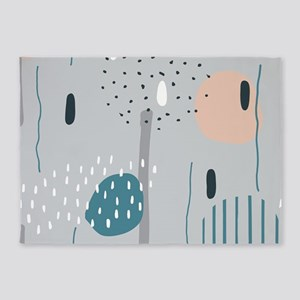 Free Hand Doodling Abstract Composi 5'x7'Area Rug