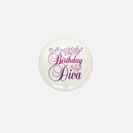 Birthday Diva Mini Button