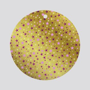 pink and purple stars on gold metal Round Ornament