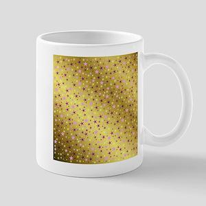 pink and purple stars on gold metal shiny bac Mugs