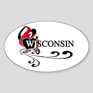 Heart Wisconsin Oval Sticker