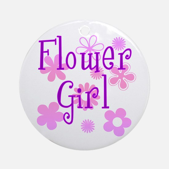 Pink and Purple Flower Girl Ornament (Round)