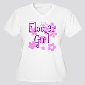 Pink and Purple Flower Girl Women's Plus Size V-Ne