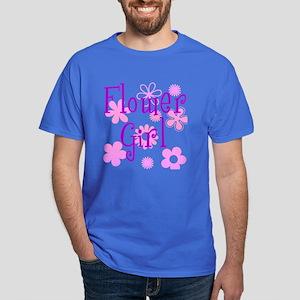 Pink and Purple Flower Girl Dark T-Shirt