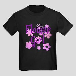 Pink and Purple Flower Girl Kids Dark T-Shirt