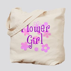 Pink and Purple Flower Girl Tote Bag