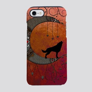 Black wolf on decorative steampunk moon iPhone 8/7